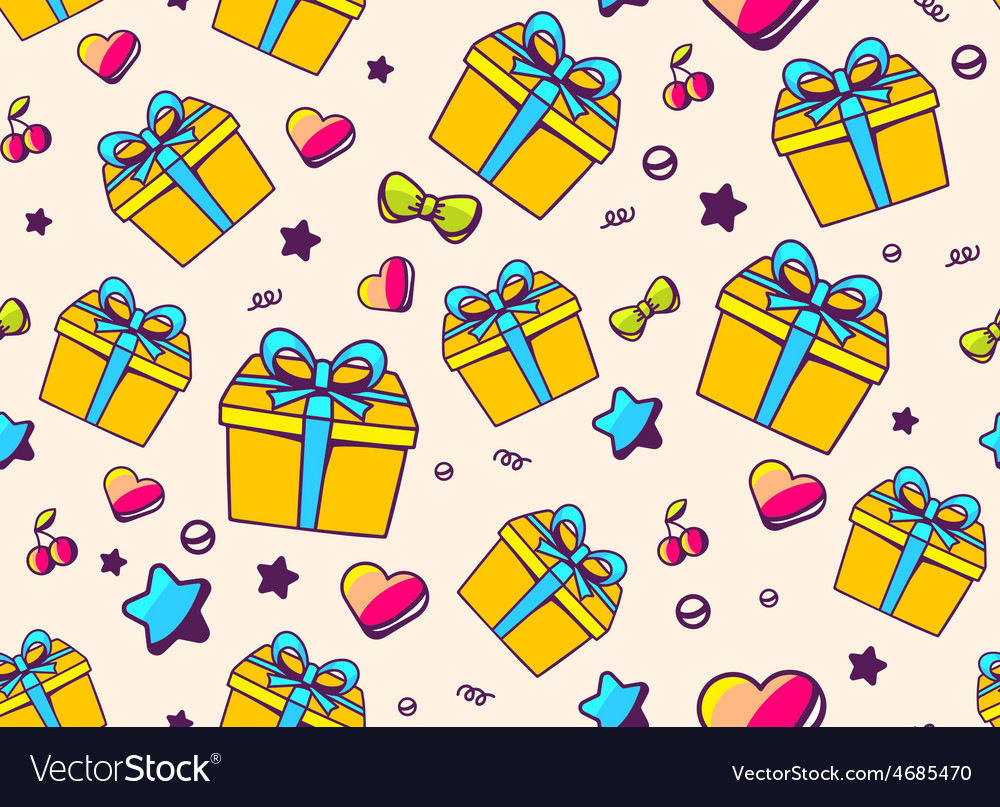 Festive bright pattern with yellow gift box and vector | Price: 1 Credit (USD $1)
