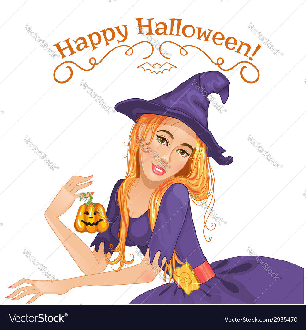 Halloween beautiful witch with pumpkin eps10 vector | Price: 1 Credit (USD $1)
