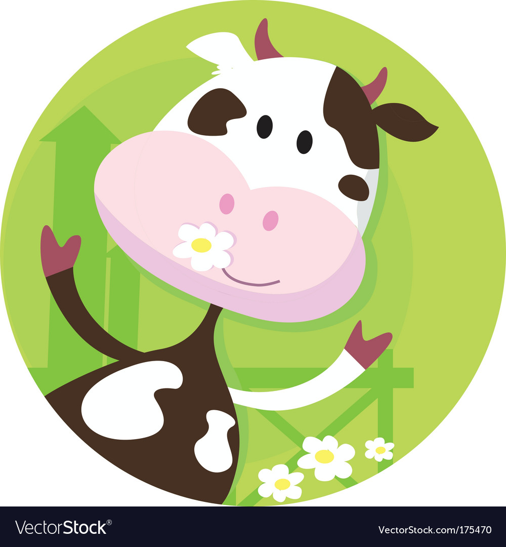 Happy cow character farm animal vector | Price: 1 Credit (USD $1)