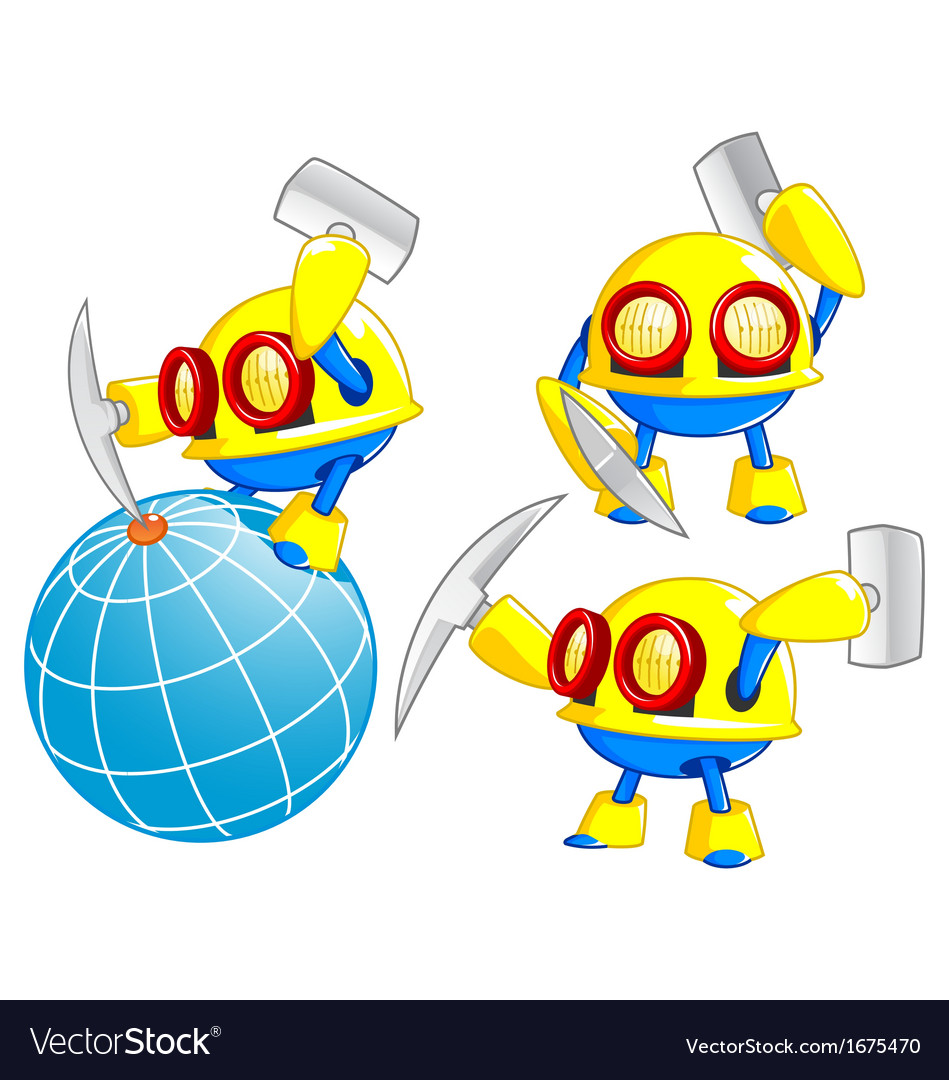 Miner robot vector | Price: 1 Credit (USD $1)