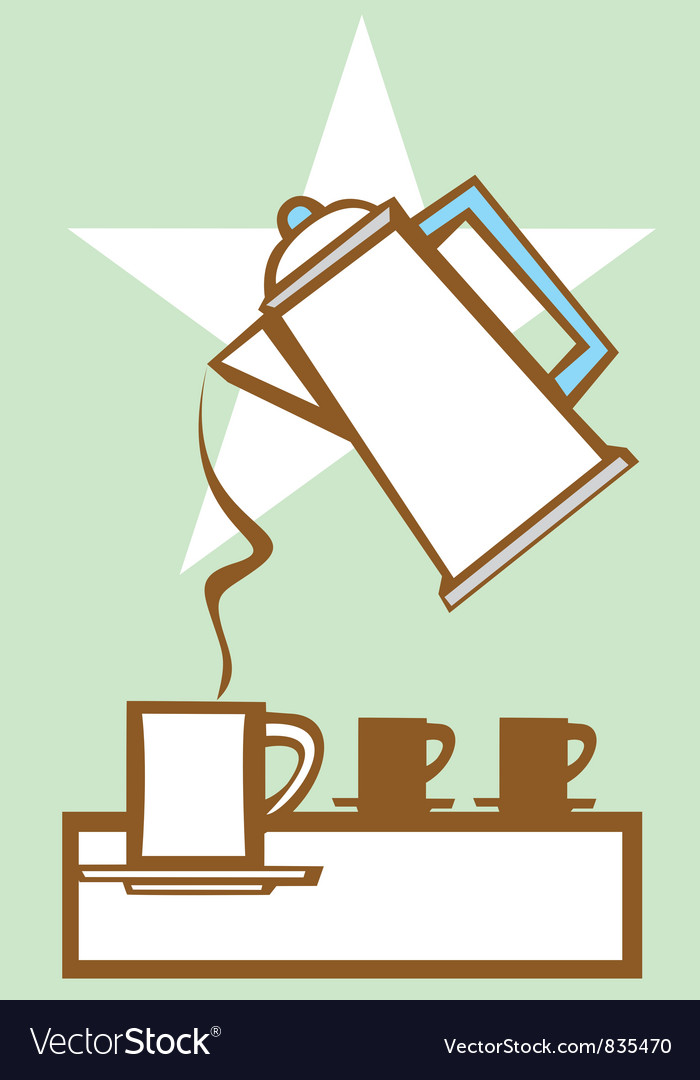 Pouring coffee pot 1 vector | Price: 1 Credit (USD $1)