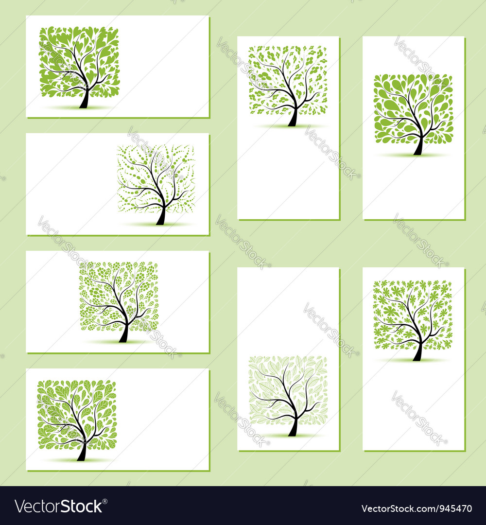 Set of business cards floral trees for your design vector   Price: 1 Credit (USD $1)