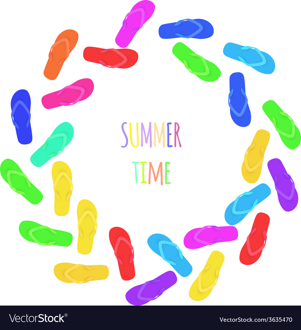 Summer time slippers banner vector | Price: 1 Credit (USD $1)