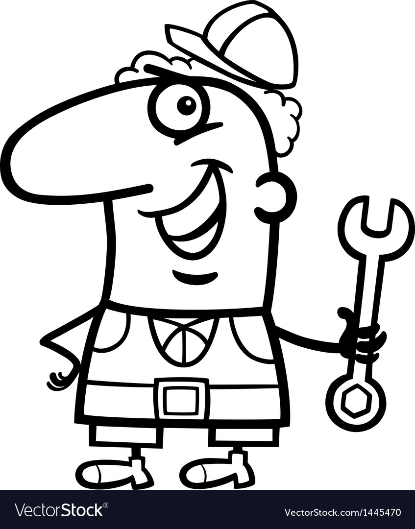 Worker cartoon coloring page vector | Price: 1 Credit (USD $1)