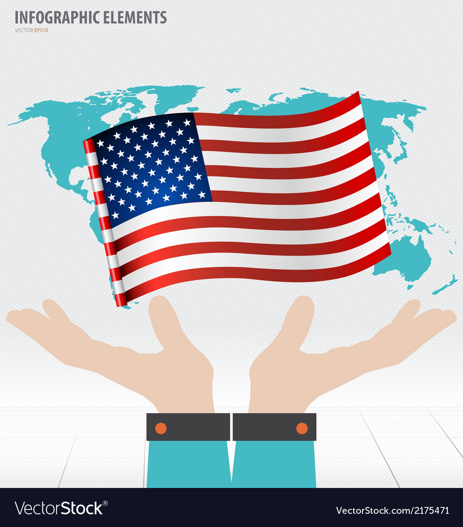 Business hand showing american flag vector | Price: 1 Credit (USD $1)