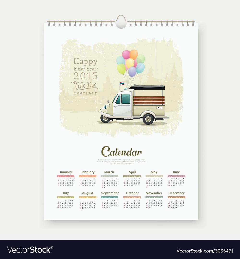 Calendar 2015 happy new year tuk tuk thailand vector | Price: 1 Credit (USD $1)