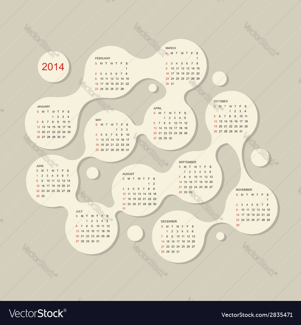 Calendar grid 2014 for your design vector | Price: 1 Credit (USD $1)