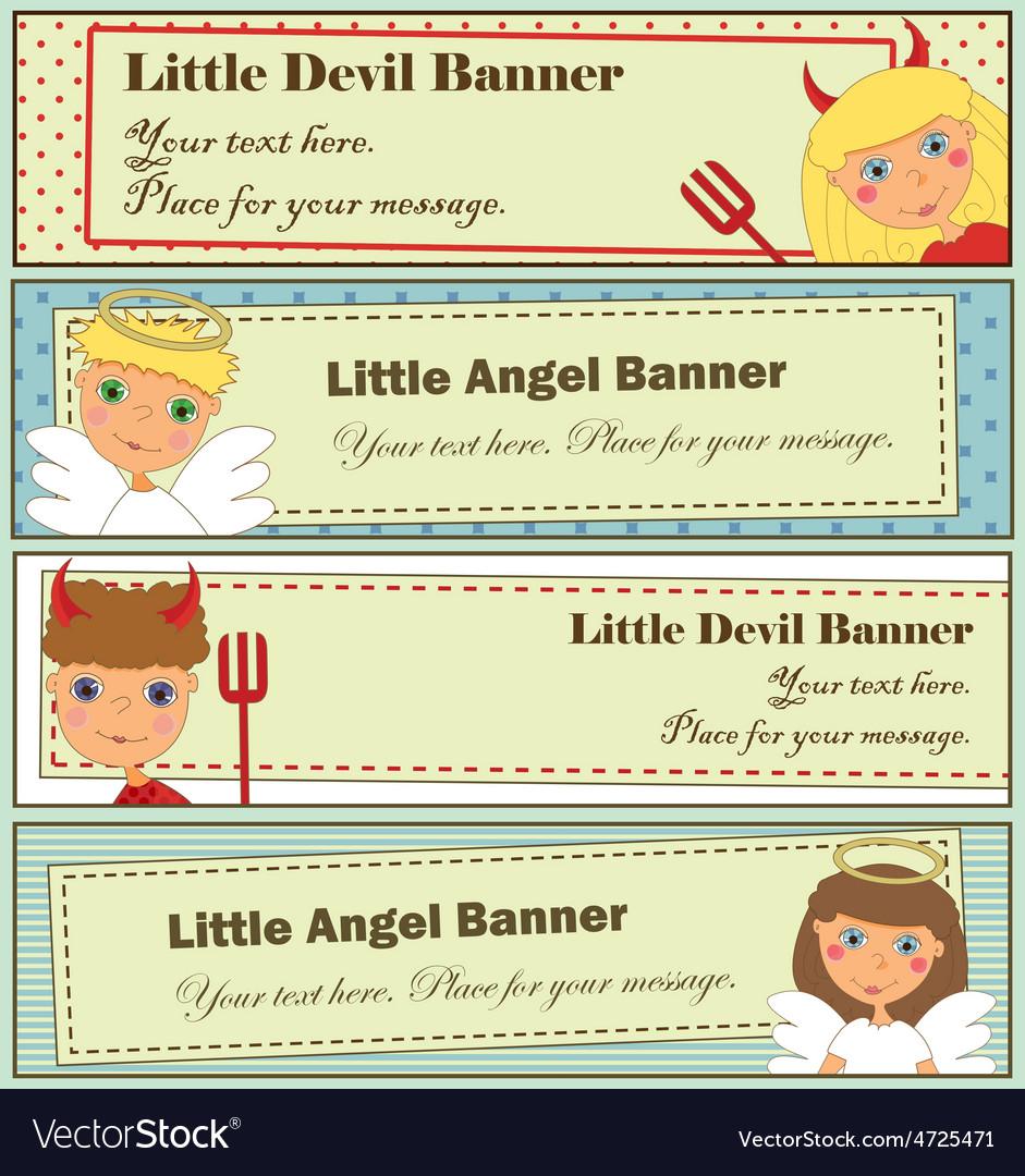 Design set kids halloween banners vector | Price: 1 Credit (USD $1)