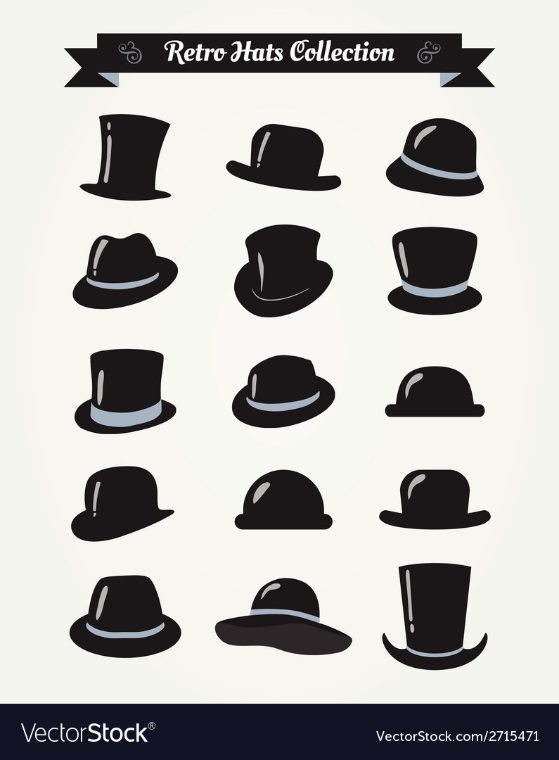 Hipster retro hats vintage icon set vector | Price: 1 Credit (USD $1)