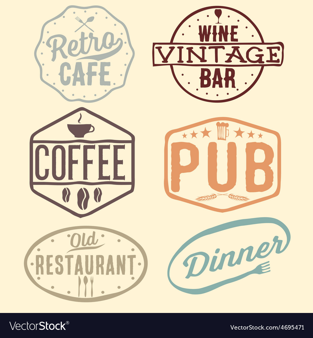 Set of vintage cafe pubwine bar and restaurant vector | Price: 1 Credit (USD $1)