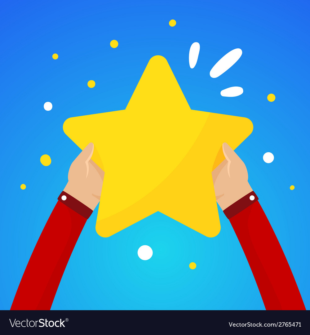 Two male hands holding a large yellow star on a vector | Price: 1 Credit (USD $1)
