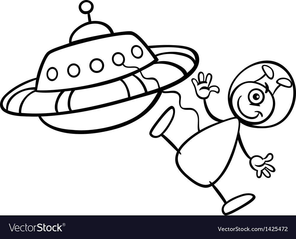 Alien with ufo for coloring book vector | Price: 1 Credit (USD $1)