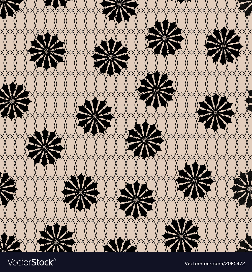 Black floral fishnet seamless lace pattern on beig vector | Price: 1 Credit (USD $1)
