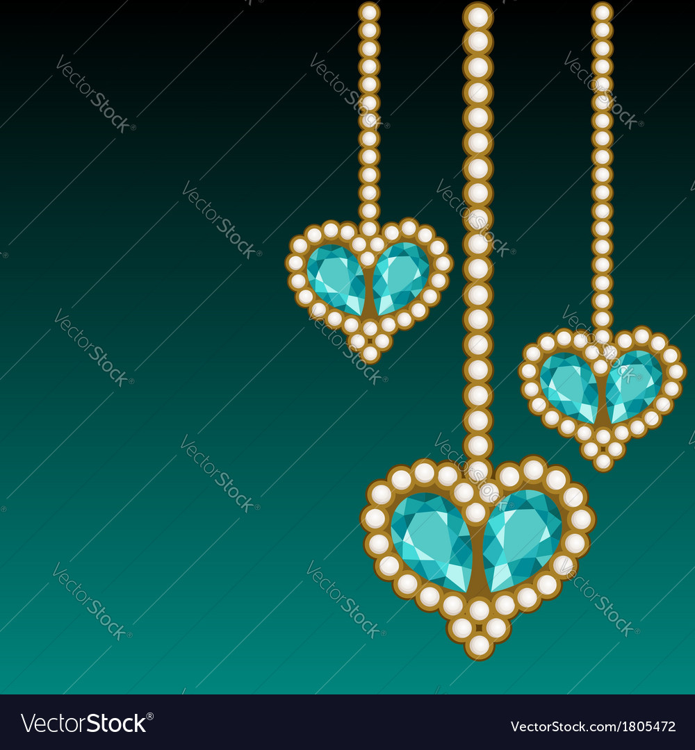 Dark green background with three jewelry hearts vector | Price: 1 Credit (USD $1)