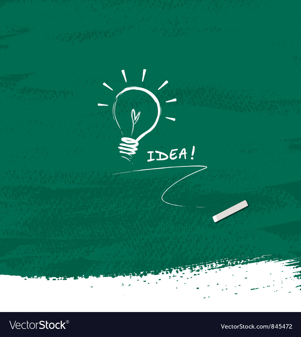 Drawing bulb light idea on blackboard background vector | Price: 1 Credit (USD $1)