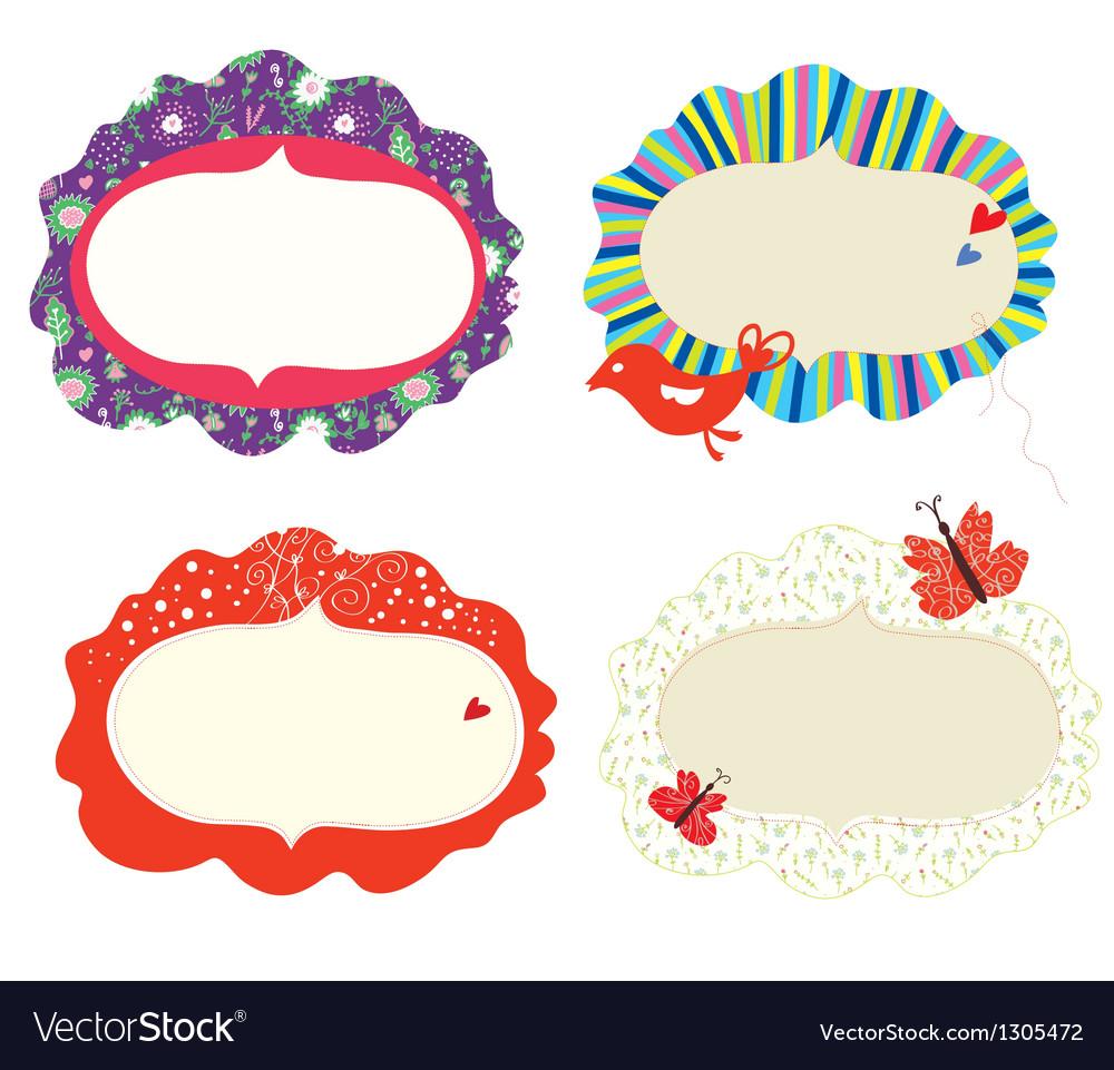 Frames floral designs set vector | Price: 1 Credit (USD $1)