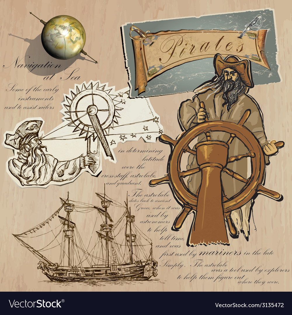 Pirates - navigation at sea hand drawn and mixed vector | Price: 1 Credit (USD $1)
