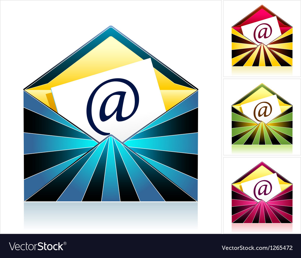 Set envelopes with rays and symbol email vector | Price: 1 Credit (USD $1)