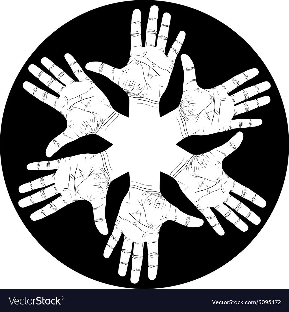 Six open hands abstract symbol detailed black and vector | Price: 1 Credit (USD $1)
