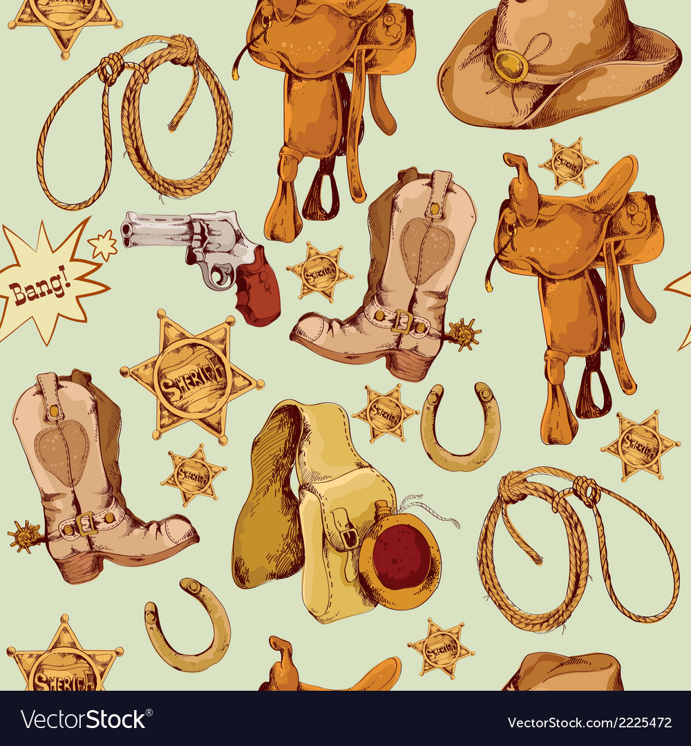 Wild west seamless pattern colored vector | Price: 1 Credit (USD $1)
