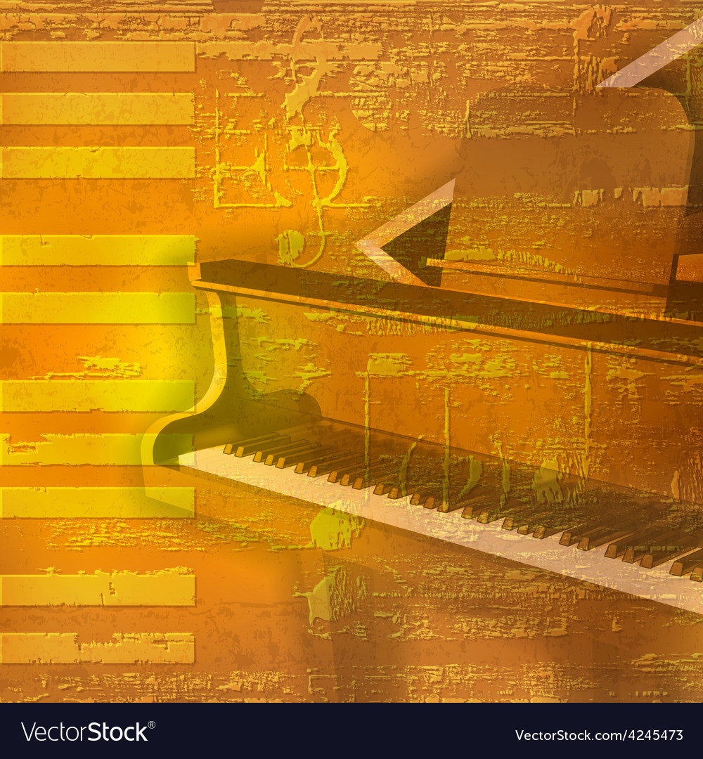 Abstract yellow grunge background with grand piano vector | Price: 3 Credit (USD $3)