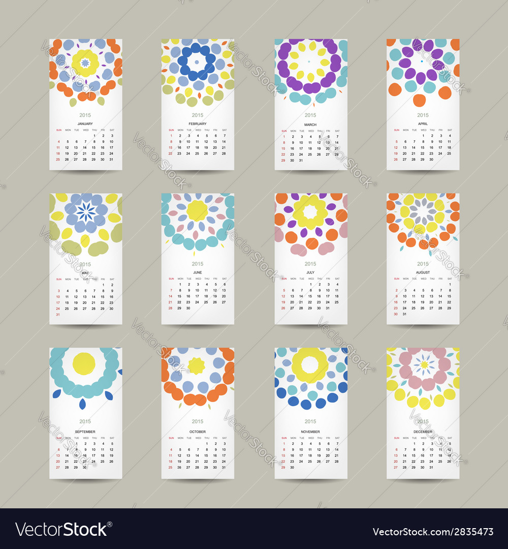 Calendar grid 2015 for your design floral ornament vector | Price: 1 Credit (USD $1)
