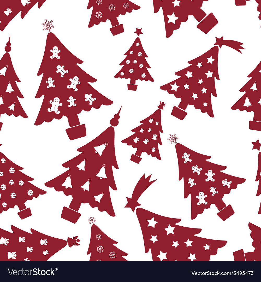 Christmas red and white tree decoration seamless vector | Price: 1 Credit (USD $1)