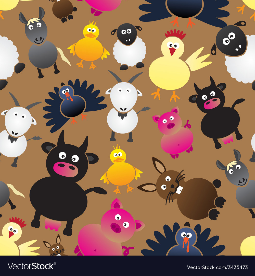 Colorful farm animals simple icons seamless vector | Price: 1 Credit (USD $1)