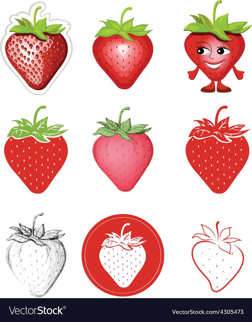 Icon of strawberries vector | Price: 1 Credit (USD $1)