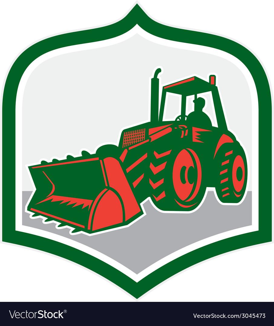 Mechanical digger excavator shield retro vector
