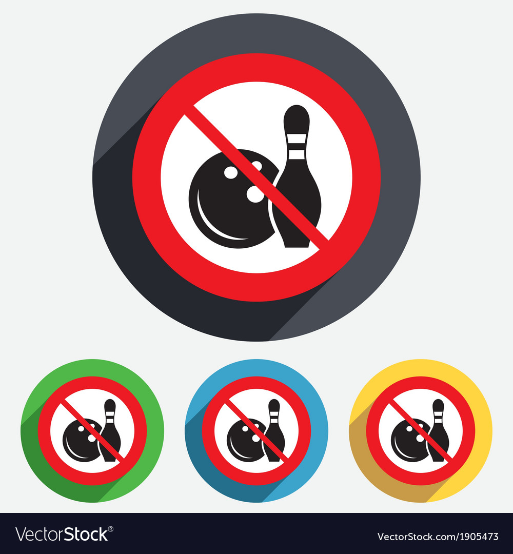 No bowling game sign icon ball with pin skittle vector | Price: 1 Credit (USD $1)