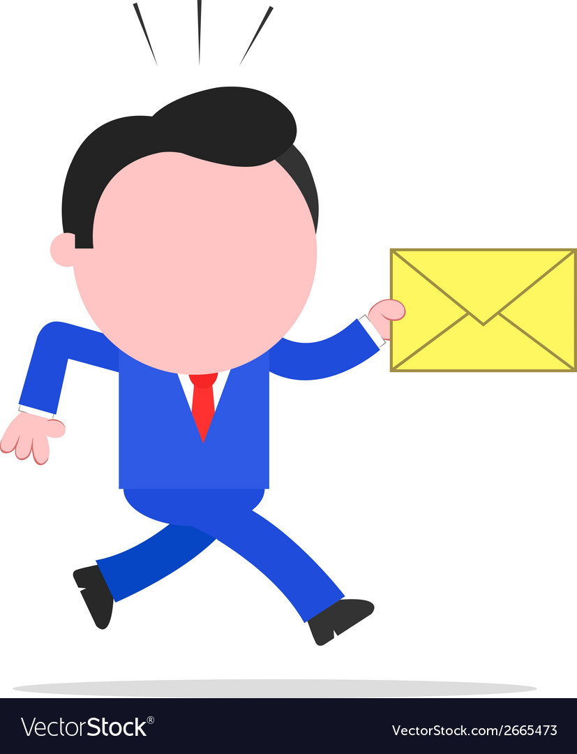 Running businessman holding mail envelope vector | Price: 1 Credit (USD $1)