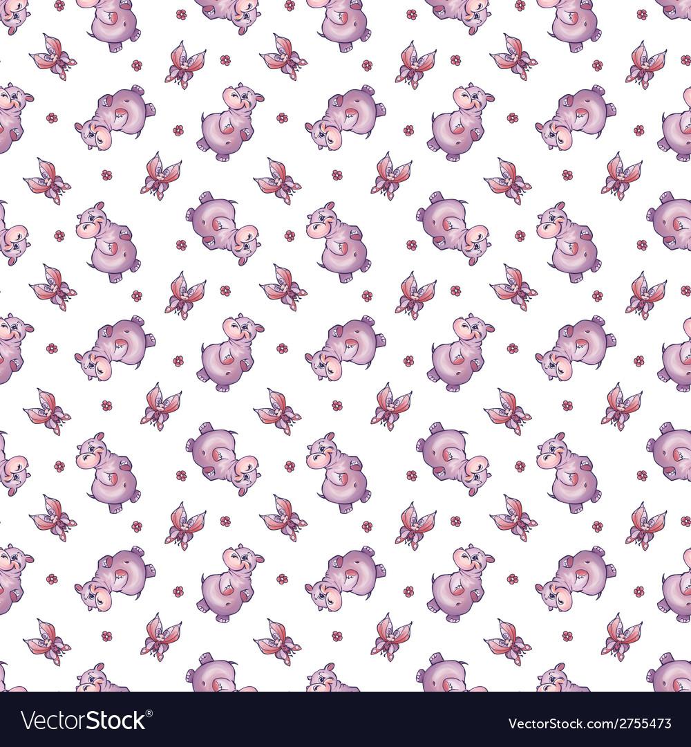 Seamless pattern with hippopotamus in cartoon vector   Price: 1 Credit (USD $1)