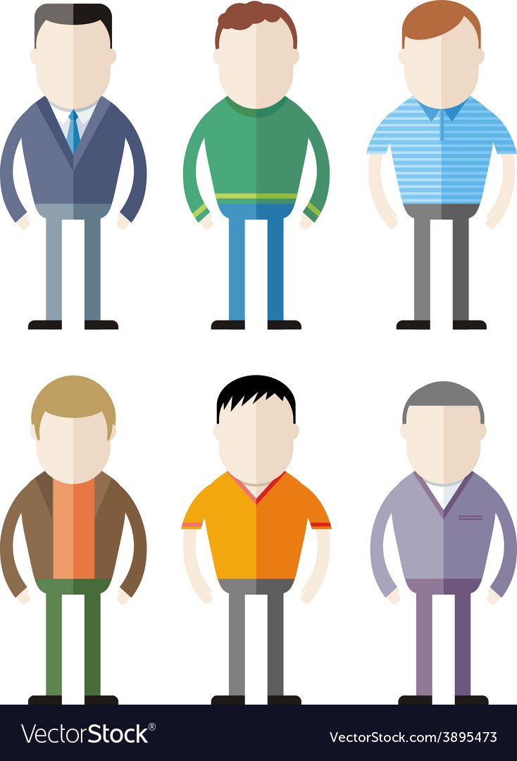 Set of male fashion silhouettes vector | Price: 1 Credit (USD $1)