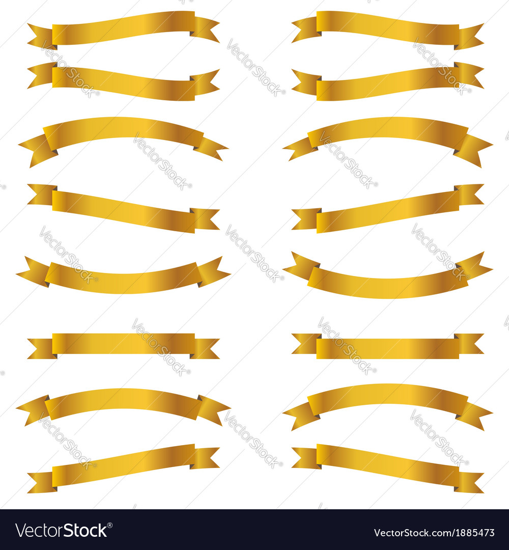 Shiny golden ribbons set vector | Price: 1 Credit (USD $1)