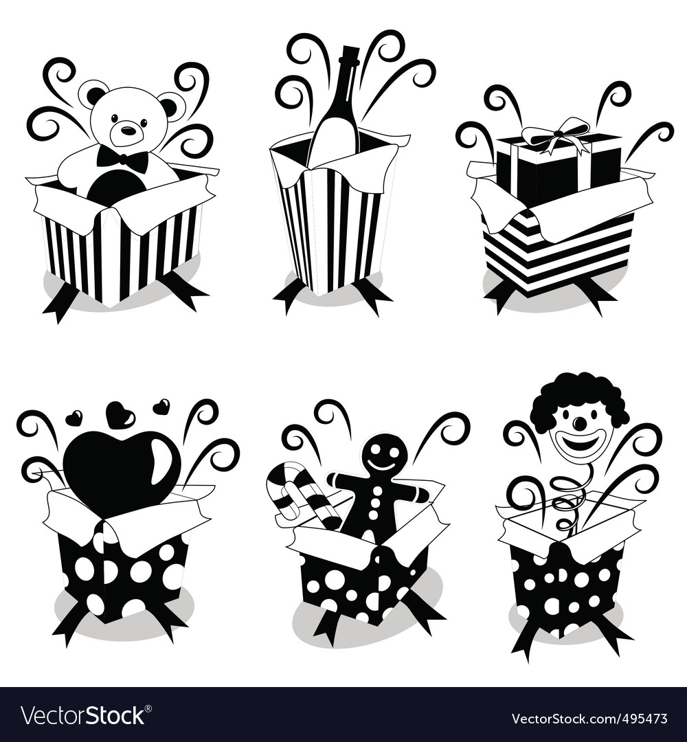 Surprise gifts black version vector | Price: 1 Credit (USD $1)