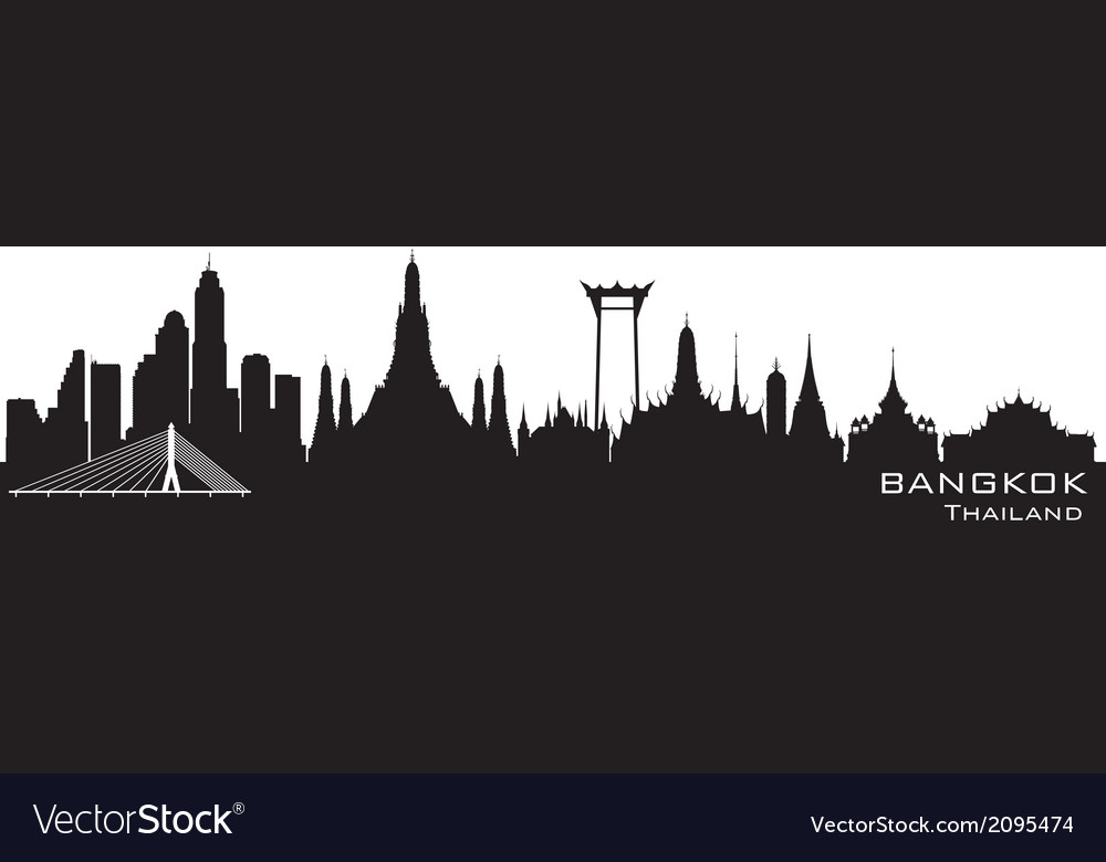 Bangkok thailand skyline detailed silhouette vector | Price: 1 Credit (USD $1)