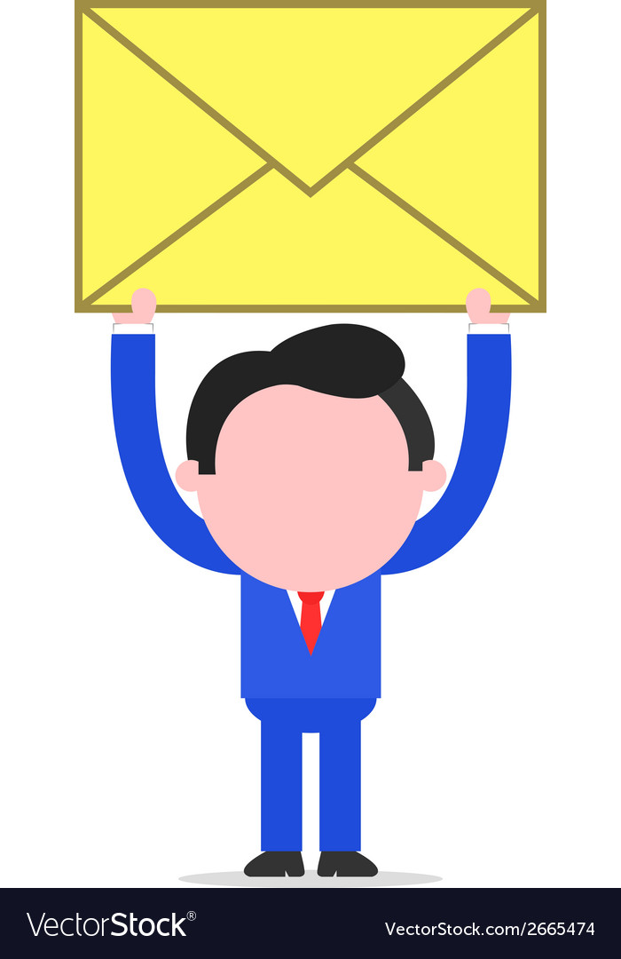 Businessman raising mail envelope vector   Price: 1 Credit (USD $1)