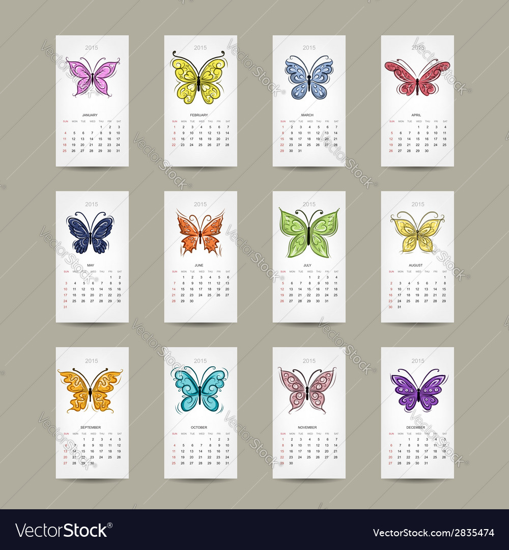 Calendar grid 2015 buttyrfly design vector | Price: 1 Credit (USD $1)