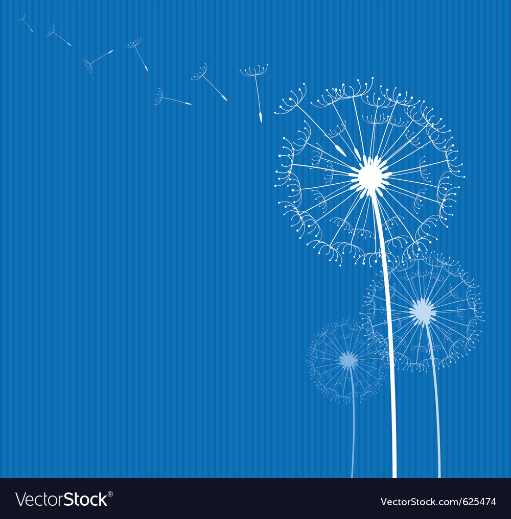 Dandelion on blue vector | Price: 1 Credit (USD $1)