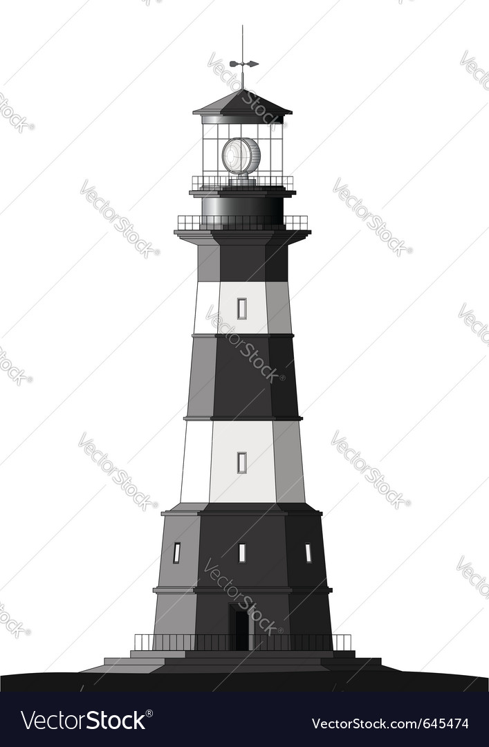 Detailed lighthouse - isolated on white vector | Price: 1 Credit (USD $1)
