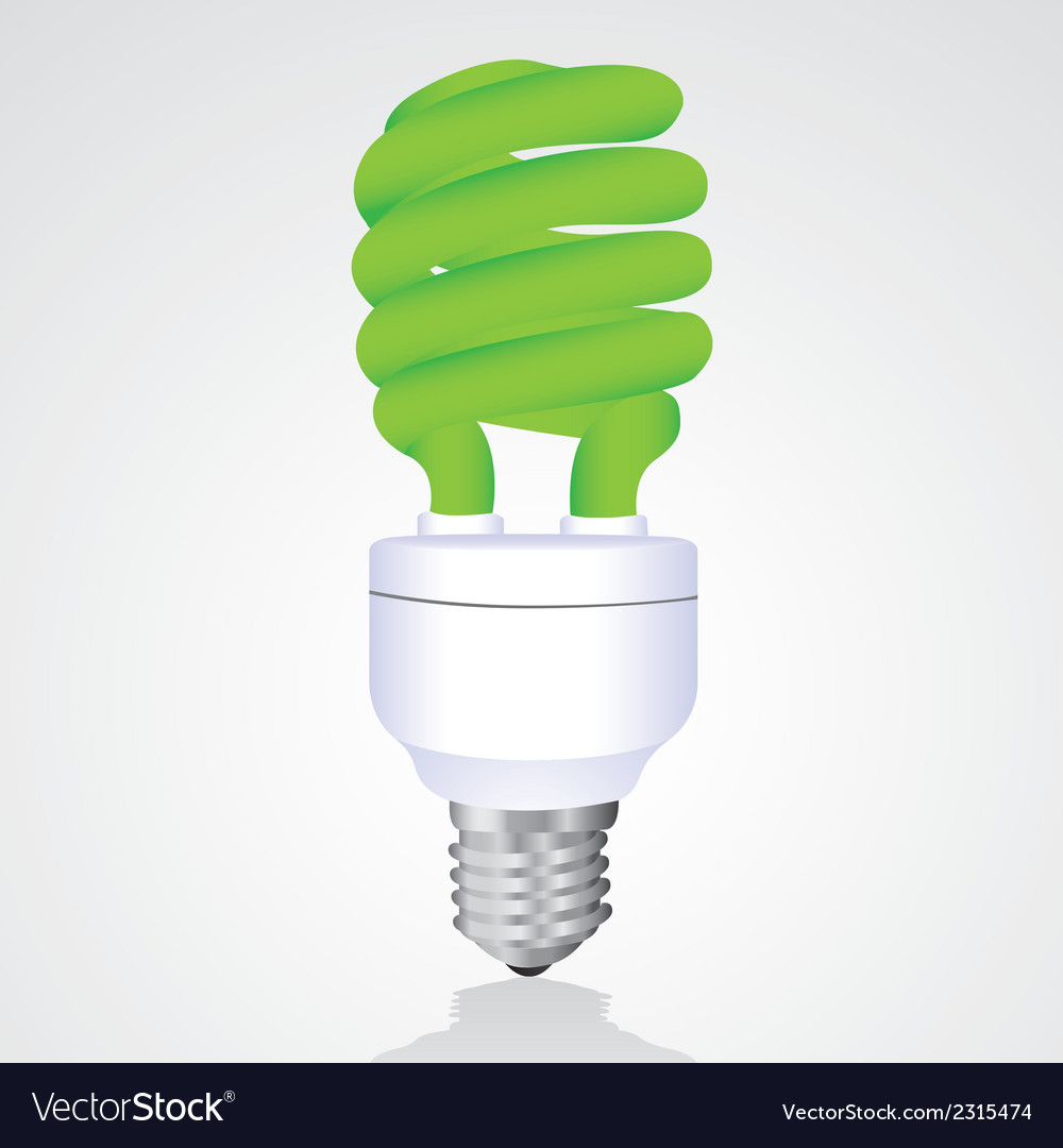 Green saver bulb isolated on white background vector | Price: 1 Credit (USD $1)