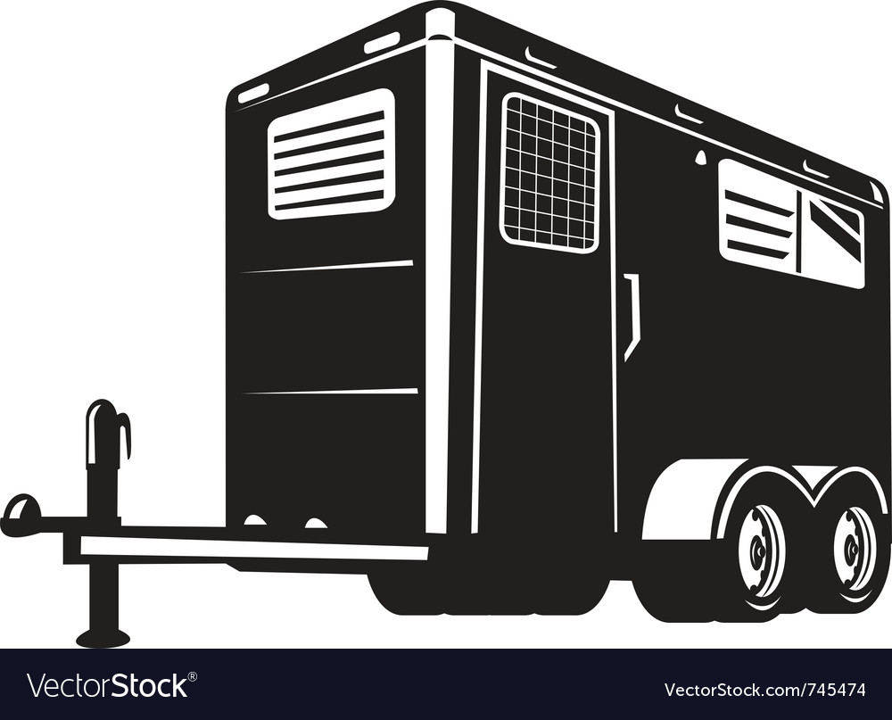 Horse trailer done in retro style vector | Price: 1 Credit (USD $1)