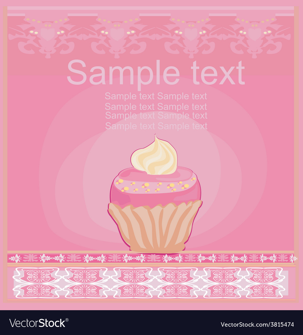 Lovely cupcake design card vector | Price: 1 Credit (USD $1)