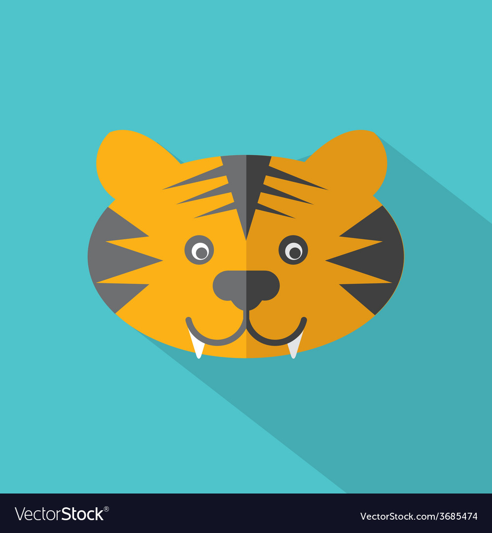 Modern flat design tiger icon vector | Price: 1 Credit (USD $1)