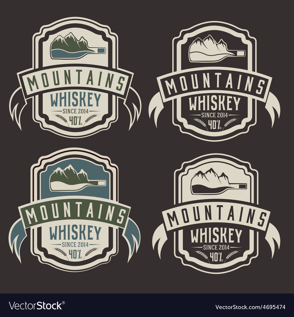 Mountains whiskey vintage labels set vector | Price: 1 Credit (USD $1)