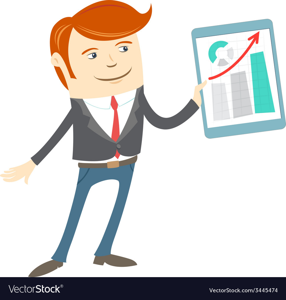 Office man presenting a graph on tablet vector | Price: 1 Credit (USD $1)