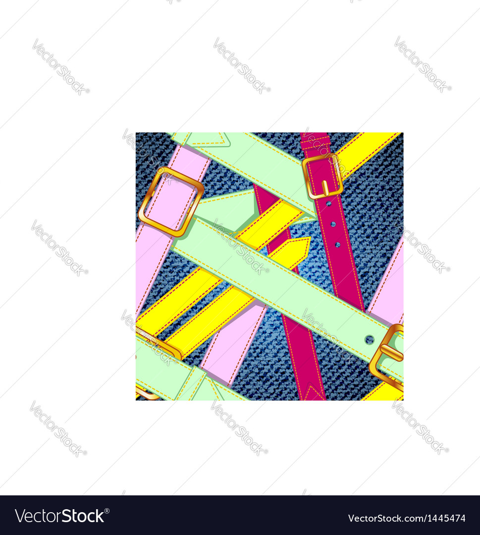 Seamless pattern with colorful belts on the jeans vector | Price: 1 Credit (USD $1)
