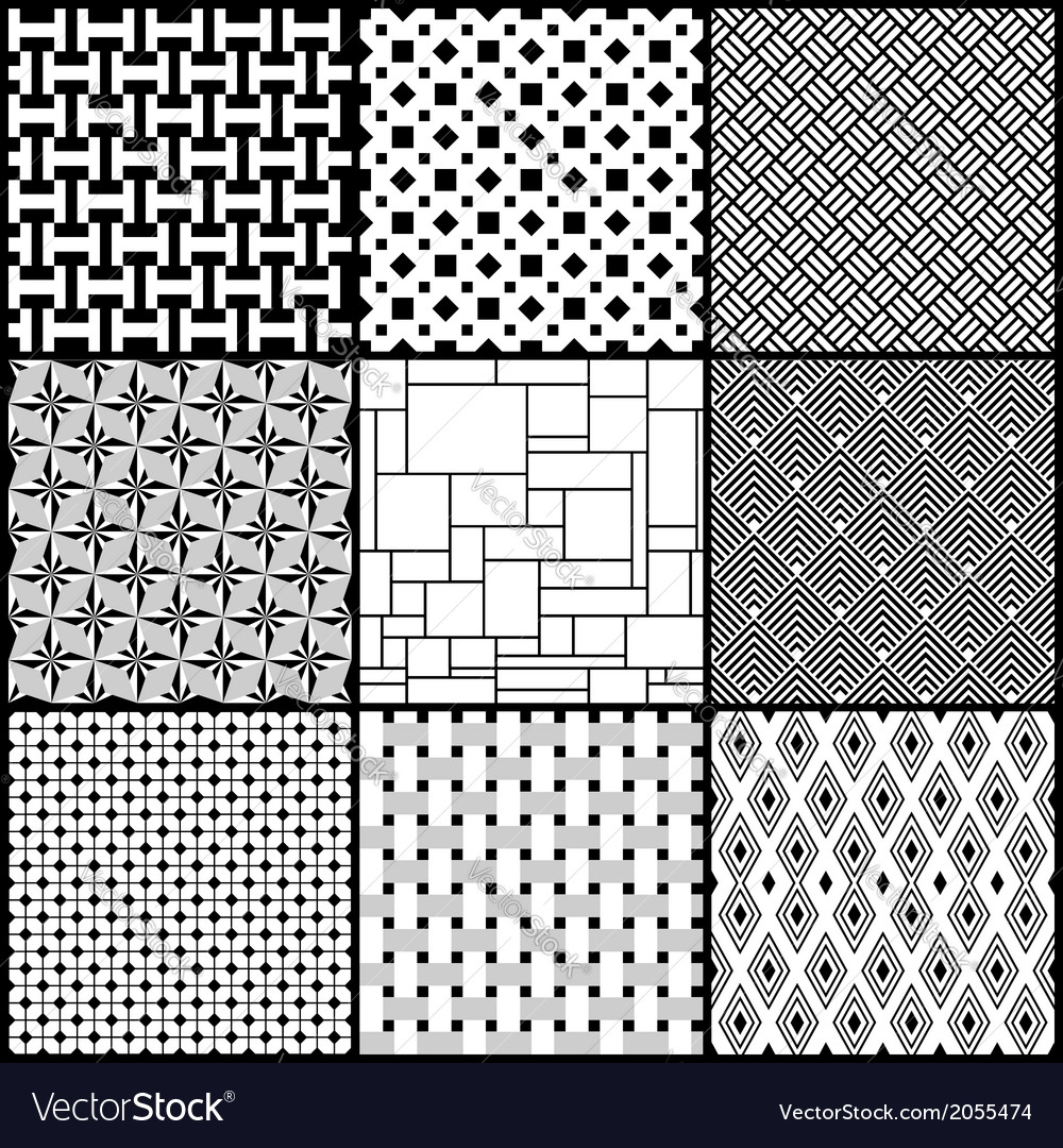 Set of nine black and white geometric seamless vector | Price: 1 Credit (USD $1)