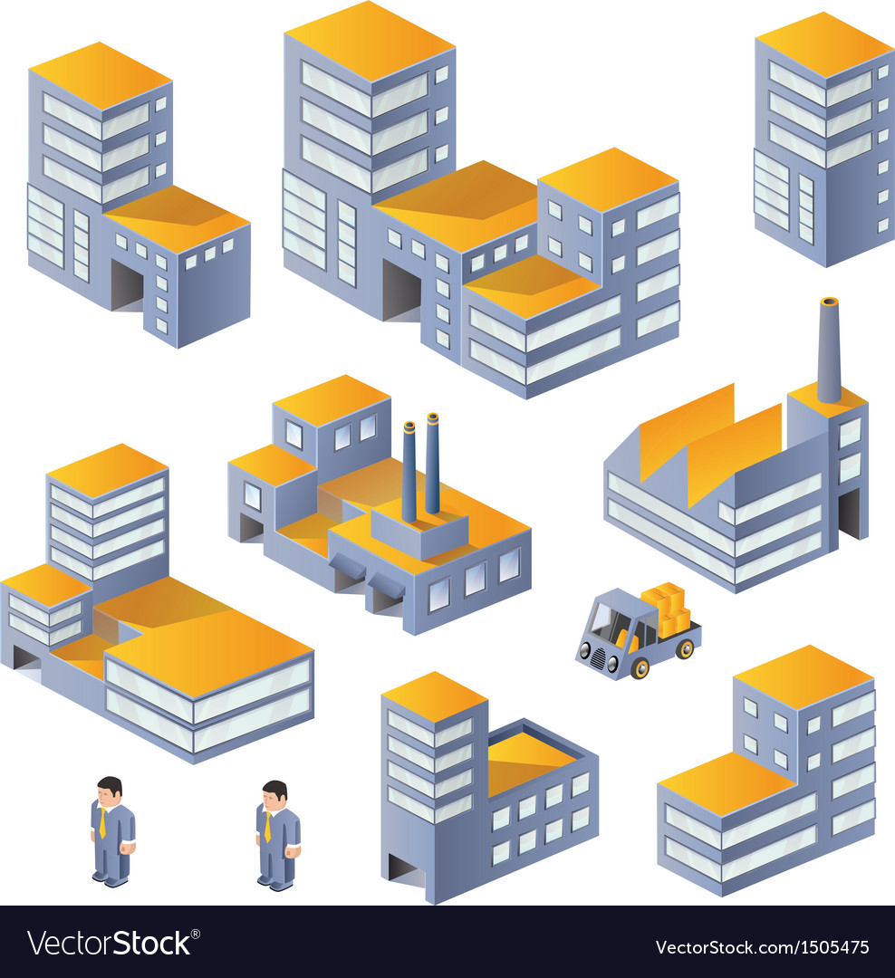 Buildings in the isometric vector | Price: 1 Credit (USD $1)